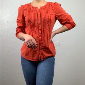 Anthropologie: Meadow Rue red coral peasant top 2